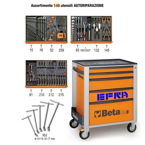 BETA C24S/5/VA CARRELLO ARANCIO 5 CASSETTI PORTAUTENSILI CON ASSORTIMENTO 149 UTENSILI AUTOMOTIVE PROMOZIONE CASSETTIERA