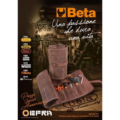 BETA 2001/B20-80° CUSTODIA IN PELLE VINTAGE CON ASSORTIMENTO DI 20 UTENSILI