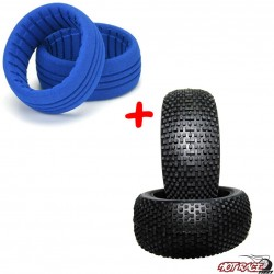 Miami Medium (gomme+riempimenti) (2+2) Gomme Buggy 1:8 Hot Race Tyres