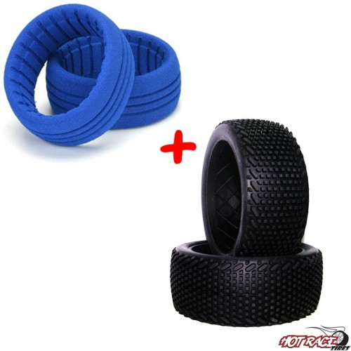Roma Hard (gomme+riempimenti) (2+2) Gomme Buggy 1:8 Hot Race Tyres